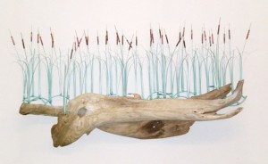 Cattails on Driftwood Wall (2)