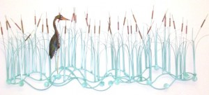 Cattails with Heron Wall (Cattails, Heron Left)